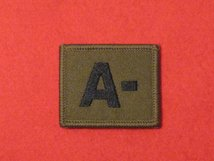 BLOOD GROUP PATCH BADGE A - WITH VELCRO BACKING OLIVE GREEN BADGE