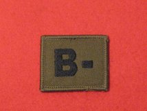 BLOOD GROUP PATCH BADGE B - WITH VELCRO BACKING OLIVE GREEN BADGE