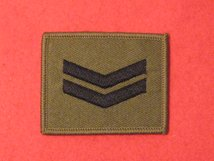 CPL CORPORAL 2 BAR BADGE OLIVE GREEN SEW ON BADGE