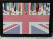 FRAMED MINIATURE MEDAL DISPLAY SET OF ALL 9 WW2 CAMPAIGN STARS MEDAL.