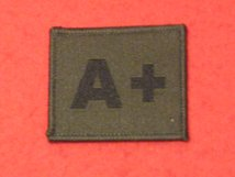 BLOOD GROUP PATCH BADGE A + WITH VELCRO BACKING OLIVE GREEN BADGE