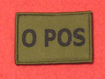 BLOOD GROUP PATCH BADGE O POS WITH VELCRO BACKING OLIVE GREEN BADGE