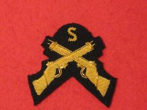 MESS DRESS SNIPER CROSSED RIFLES GOLD ON BLACK BADGE