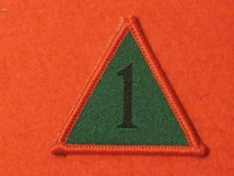 BRITISH ARMY 1ST ARMOURED INFANTRY BRIGADE BADGE AKA 1 MECH BRIGADE TRIANGLE RED EDGE