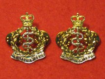ROYAL ARMY MEDICAL CORPS RAMC MILITARY COLLAR BADGES CLUTCH PIN TYPE