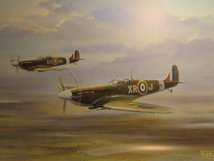 AIRCRAFT PRINT PAIR OF SPITFIRES