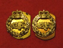THE QUEENS BAYS MILITARY COLLAR BADGES