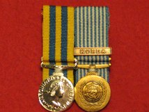 MINIATURE COURT MOUNTED BRITISH KOREA MEDAL AND UN KOREA MEDAL