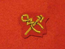 MESS DRESS HAMMER AND TONGS BADGE GOLD ON SCARLET RED BADGE
