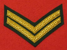 MESS DRESS 2 BAR CORPORAL CHEVRON GOLD ON GREEN BADGE