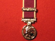 MINIATURE ARMY LSGC MEDAL LONG SERVICE GOOD CONDUCT MEDAL EIIR WITH 2ND AWARD BAR