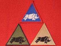 BRITISH ARMY 1 UK ARMOURED DIVISION FORMATION BADGES RHINO SET OF 3 BLUE BUFF AND GREEN