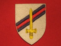BRITISH ARMY 6TH ARMOURED BRIGADE FORMATION BADGE WW2 WHITE SHIELD BLUE RED BLUE