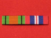 DEFENCE MEDAL AND END OF WAR MEDAL WW2 RIBBON SEW ON BAR