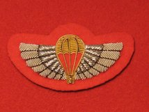 NUMBER 1 DRESS SAS TRAINED WINGS BADGE GOLD ON SCARLET RED