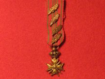MINIATURE BELGIUM CROIX DE GUERRE MEDAL WW1 WITH 4 EMBLEMS