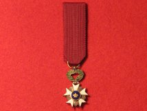 MINIATURE BELGIUM ORDER OF THE CROWN 5TH CLASS KNIGHTS GF CONTEMPORARY MEDAL