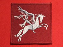 AIRBORNE DIVISION BADGE PEGASUS FORMATION DROP ZONE DZ BADGE LIGHT BLUE ON MAROON RIGHT FACING