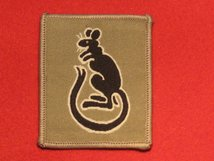 BRITISH ARMY 7TH ARMOURED BRIGADE FORMATION BADGE BLACK ON BEIGE
